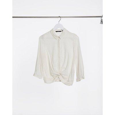 Vero Moda – Hemd mit verdrehter Vorderseite in Creme-Weiß   VERO MODA SALE
