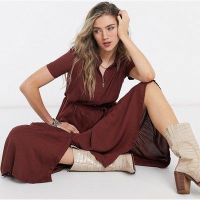 Vero Moda – Hochgeschlossenes Maxikleid aus braunem Jersey