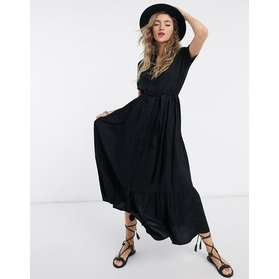 Vero Moda – Hochgeschlossenes Maxikleid aus schwarzem Jersey