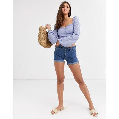 Vero Moda – Jeansshorts mit Umschlag-Blau