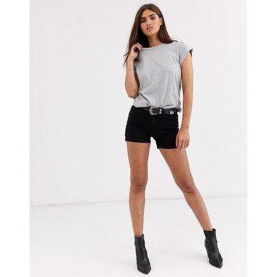 Vero Moda – Jeansshorts mit Umschlag-Schwarz