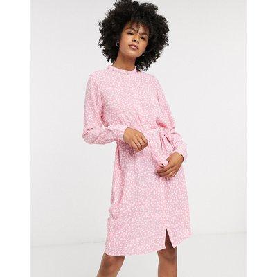 Vero Moda – Jerseykleid mit Bindegürtel in Rosa