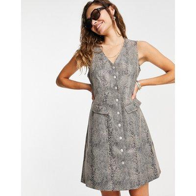 Vero Moda – Kleid aus Kunstleder mit Knöpfen und Schlangendesign-Braun | VERO MODA SALE