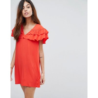 Vero Moda – Kleid mit gerüschten Einsätzen-Rot