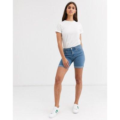 Vero Moda – Lange Jeansshorts-Blau