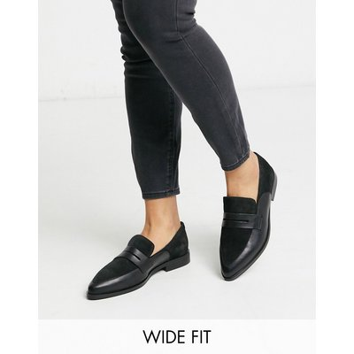 Vero Moda – Leder-Loafer in weiter Passform-Schwarz