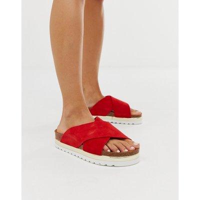 Vero Moda – Ledersandalen mit überkreuztem Riemen-Rot