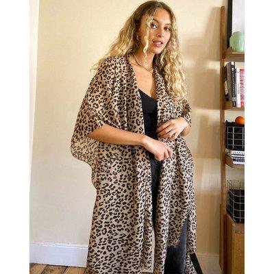 Vero Moda – Longline-Kimono mit Leopardenmuster-Mehrfarbig