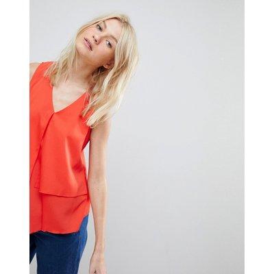 Vero Moda – Mehrlagige, ärmellose Bluse-Rot