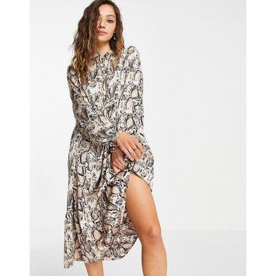 Vero Moda – Midi-Hemdkleid mit Schößchen und Print-Schwarz | VERO MODA SALE
