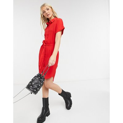 Vero Moda – Mini-Hemdkleid mit Schnürband in Rot   VERO MODA SALE