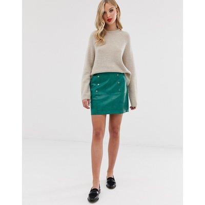 Vero Moda – Minirock aus Lederimitat-Grün