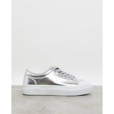 Vero Moda – Plateau-Sneaker in Silberfarben