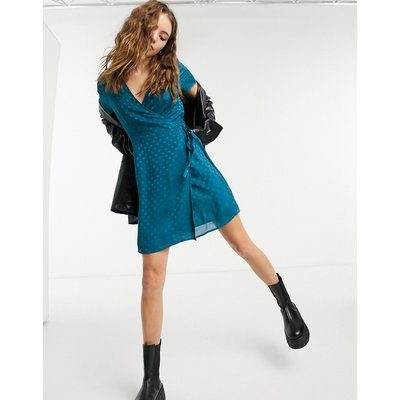 Vero Moda – Satin-Wickelkleid in Blaugrün | VERO MODA SALE