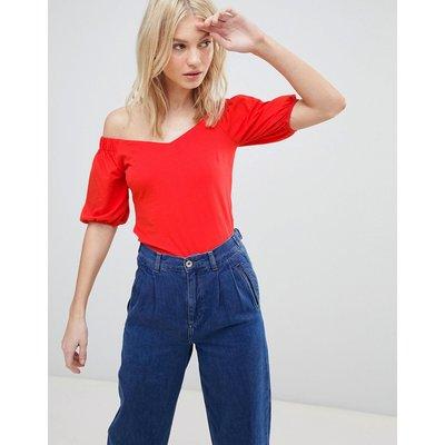 Vero Moda – Schulterfreies Oberteil mit langen Ärmeln-Rot