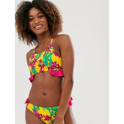 Vero Moda – Seitlich gerüschtes Bikinioberteil mit tropischem Design-Mehrfarbig | VERO MODA SALE