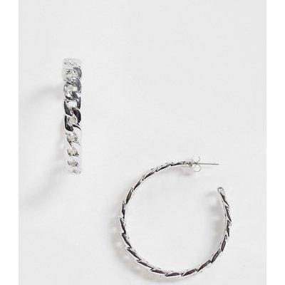 Vero Moda – Silberne Hoop-Ohrringe mit Kettendesign