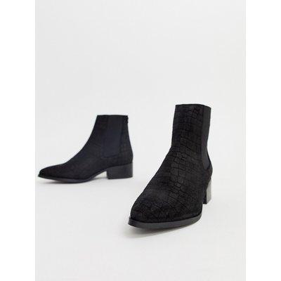 Vero Moda – Stiefel aus echtem Wildleder mit geprägtem Schlangenhautdesign-Schwarz