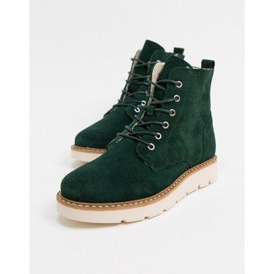 Vero Moda – Stiefel aus Leder in Blaugrün-Bronze
