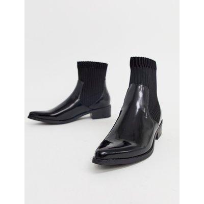 Vero Moda – Stiefel mit geripptem Schaft-Schwarz