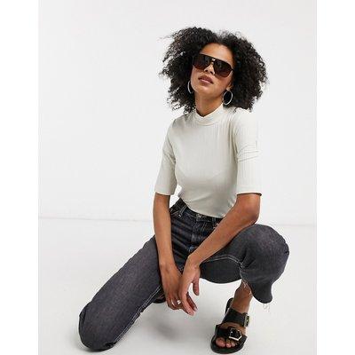 Vero Moda – T-Shirt mit Stehkragen in gebrochenem Weiß-Braun | VERO MODA SALE