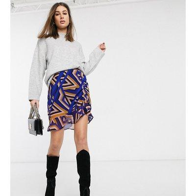 Vero Moda Tall – Geraffter Rock mit geometrischem Muster-Mehrfarbig