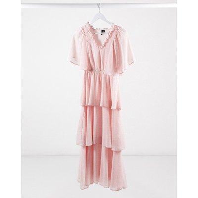 Vero Moda tiered chiffon maxi dress in pink spot print-Multi