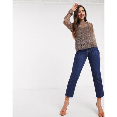 Vero Moda – Transparente, karierte Bluse mit Schößchen-Mehrfarbig