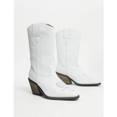 Vero Moda – Weiße Cowboy-Stiefel aus Leder
