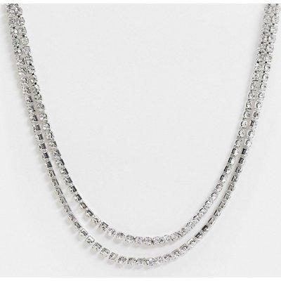 Vero Moda – Zweireihiges, strassbesetztes Halsband in Silber
