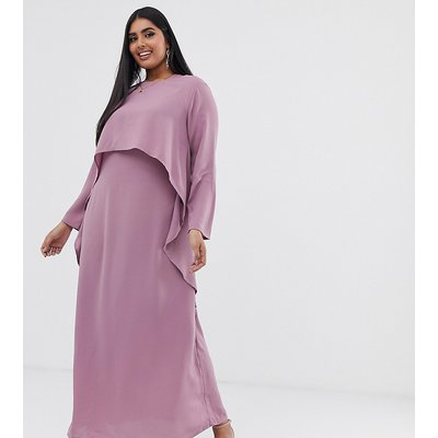 Verona Curve long sleeved layered dress in dusty rose-Pink