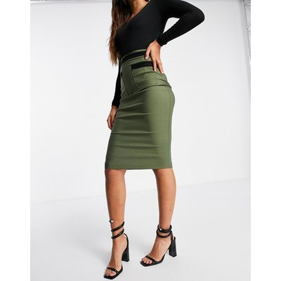 Vesper contrast detail midi pencil skirt in khaki-Green