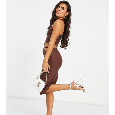 Vesper Petite cut out midi pencil skirt in chocolate-Brown
