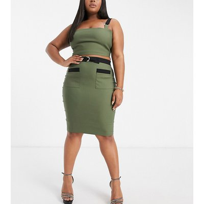 Vesper Plus contrast detail midi pencil skirt in khaki-Green