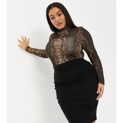 Vesper Plus midi pencil skirt in black