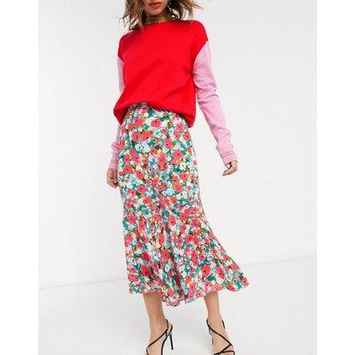 Vestire little havana floral midi skirt with flutted hem-Red