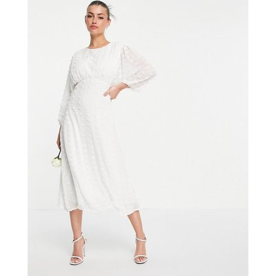 Vila Bridal midi tea dress with fluted sleeves in white