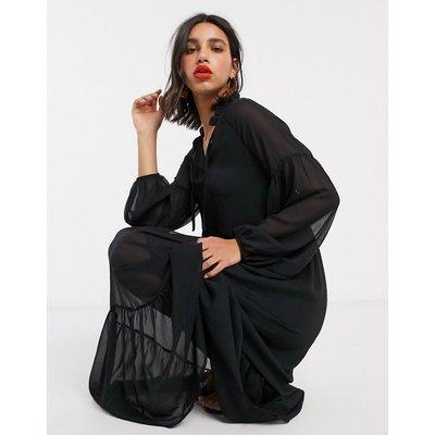 Vila chiffon maxi dress with ruffle neck in black