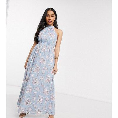 Vila Petite chiffon maxi dress with halterneck in blue floral