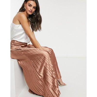 Vila pleated satin maxi skirt in bronze-Brown