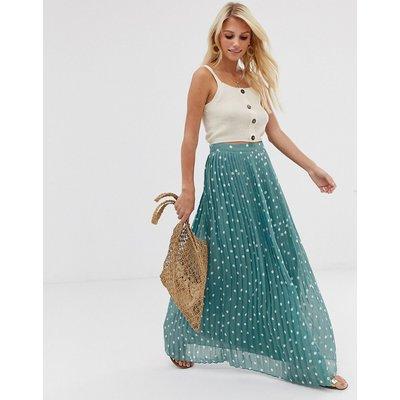 Vila polka dot pleated maxi skirt-Blue