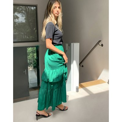 Vila textured maxi skirt with tiering in green