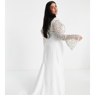 Virgos Lounge Curve Bridal long sleeve lace dress in white