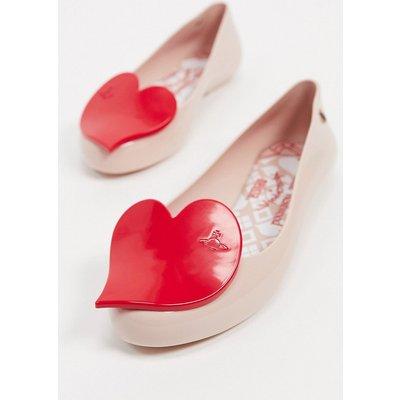 Vivienne Westwood for Melissa – Flache Schuhe mit Herz in gehaucht Rosa-Beige