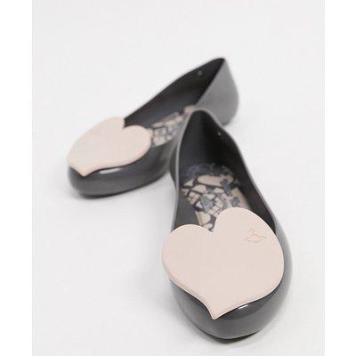 Vivienne Westwood for Melissa – Flache Schuhe mit Herz in Schiefergrau