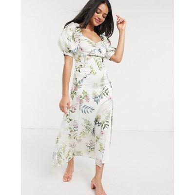 We Are Kindred eloise floral midi tea dress in ecru delphinium-White