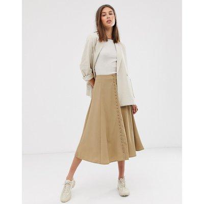 Weekday midi A-line skirt in beige-Green