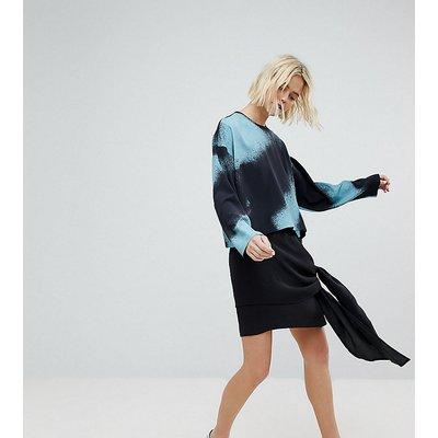 Weekday Waterfall Asymmetric Hem Skirt-Black