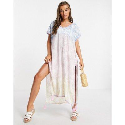 White Cabana maxi kaftan dress in ombre snakeskin-Blue