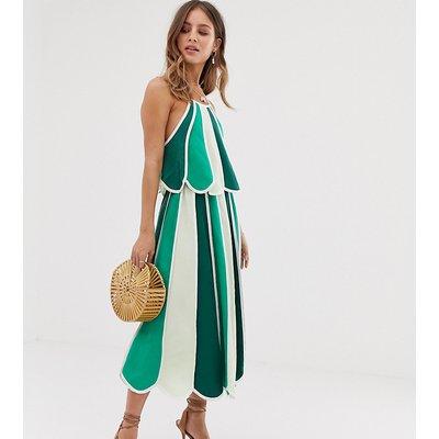 White Sand contrast stripe midi skirt in green multi